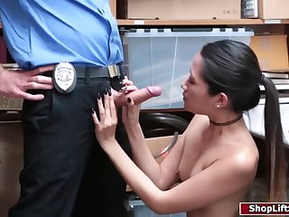 slut thief lets herself get caught to fuck the hunk officer