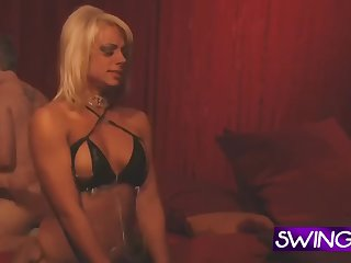 hot tattooed couples going rough and bisexual at the swinger house