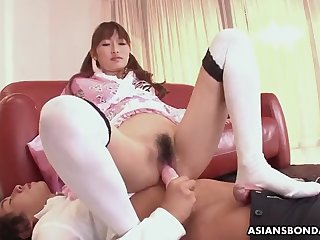 japanese fetish lady, mana aoki satisfying a horny man, unce
