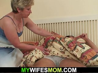 horny old mother awakes him to ride his cock