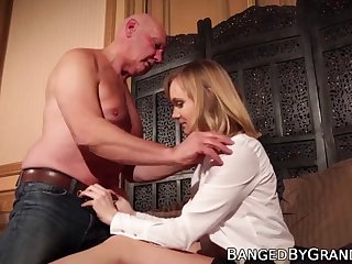 naughty babe rides old mans cock and tastes his warm cum