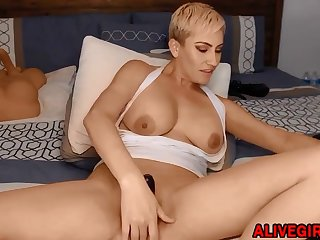 sexy blond with huge boobs satisfying your wildest fantasy