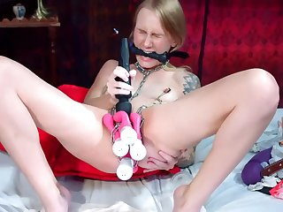 very wet slut with many toys in pussy squirt
