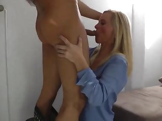 sexy milf in stockings gets ears in cum by young guy