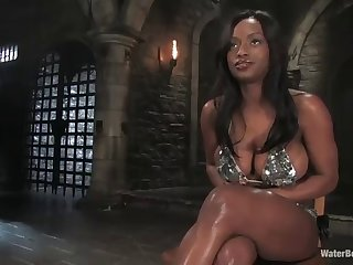 ebon whore gets her big chest tied up with rope in subjection scene